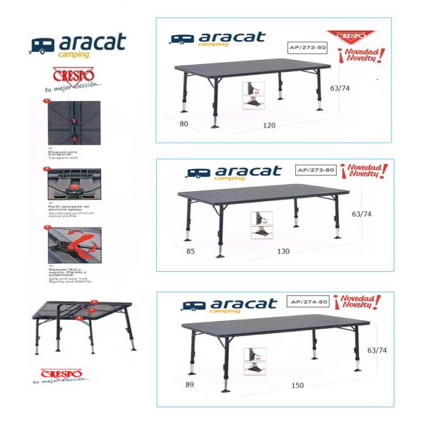 Mesas grandes para camping y jardín, Crespo AP/272, AP/273, AP/274