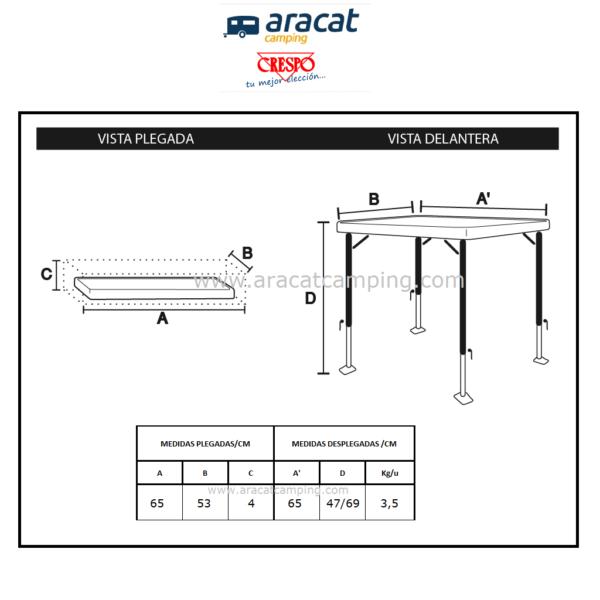 Medidas de las mesas Crespo modelos AP/250 y AL/250