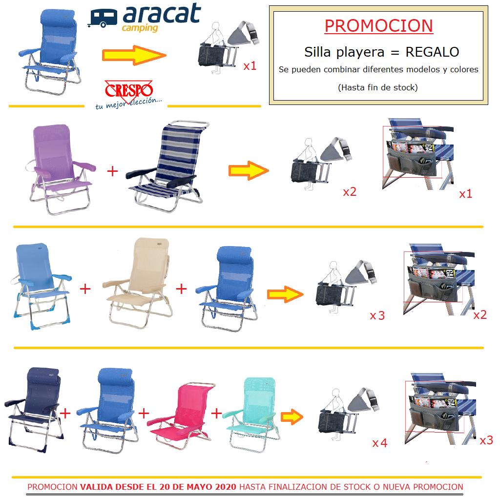 Consigue prácticos regalos con la compra de tu silla playera Crespo