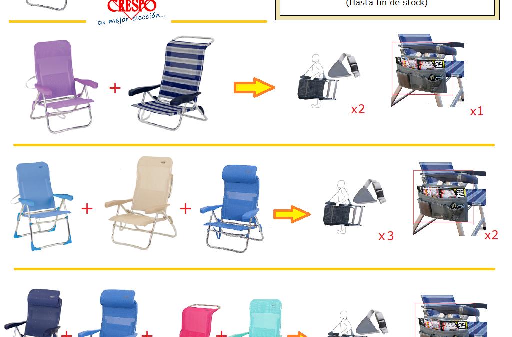 Consigue regalos con tu compra Crespo. Puedes llevarte una práctica cinta de transporte para llevar cómodamente tu silla Crespo, así como un útil bolsillo lateral para en tu silla Crespo y asi guardar tus objetos personales.