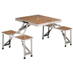 Mesa con taburetes aluminio, plegable y ligera